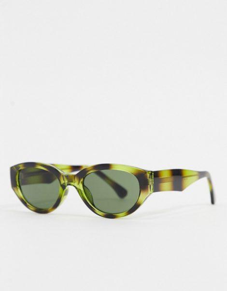 A.Kjaerbede - Runde Retro-Sonnenbrille in grünem Schildpatt-Design-Braun