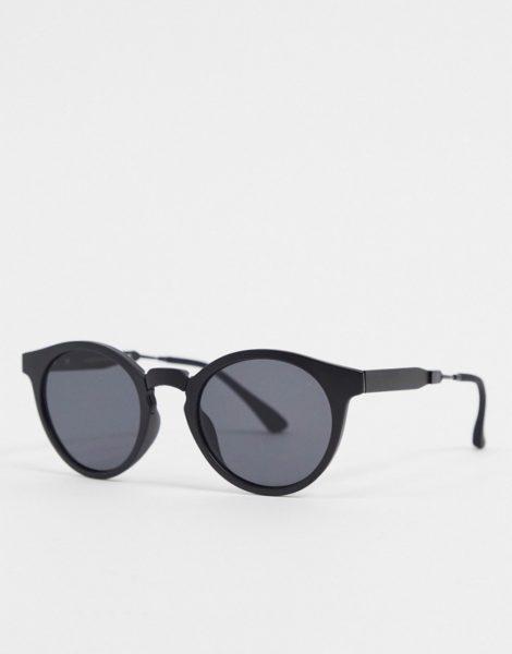 A.Kjaerbede - Runde Sonnenbrille in Schwarz mit Metalldetails