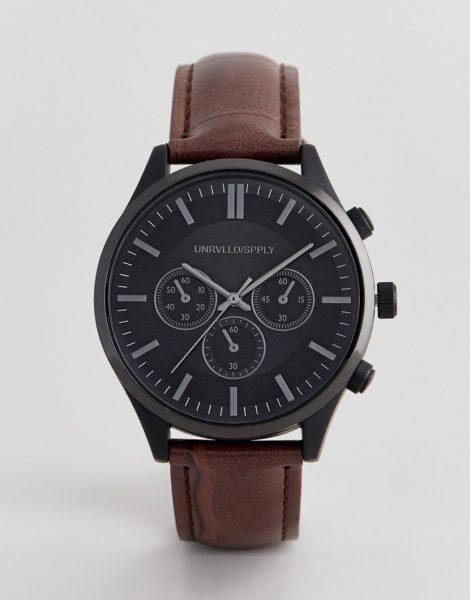 ASOS DESIGN - Armbanduhr mit Kroko-Prägung und kontrastierendem Gehäuse in Schwarz-Braun