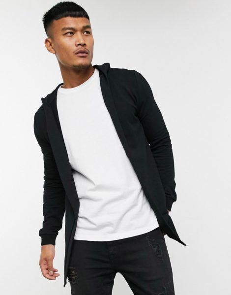 ASOS DESIGN - Enge schwarze Jersey-Strickjacke mit Kapuze