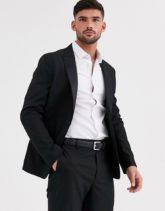 ASOS DESIGN - Enge, schwarze Smoking-Anzugsjacke