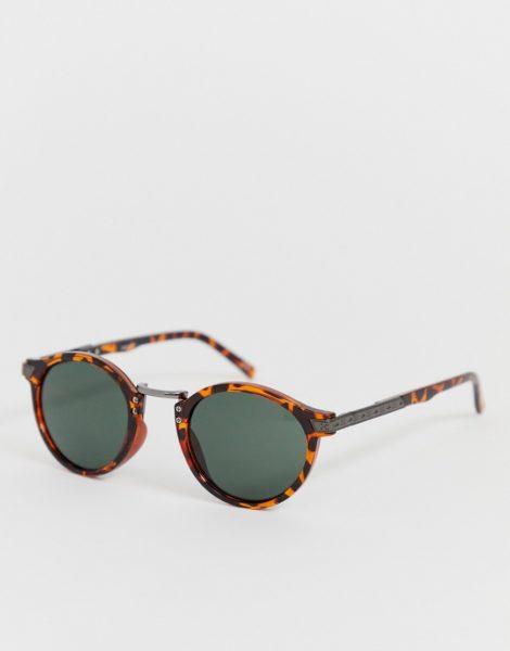 ASOS DESIGN - Festival - Runde Sonnenbrille in Schildpattoptik mit getönten Gläsern-Braun