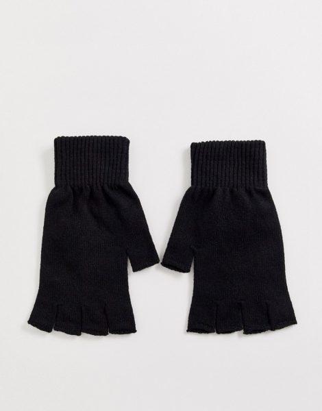 ASOS DESIGN - Fingerlose, schwarze Handschuhe