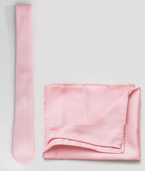 ASOS DESIGN - Krawatte und Einstecktuch in Blassrosa