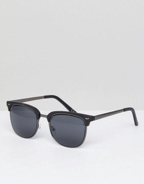 ASOS DESIGN - Retro-Sonnenbrille in Graphit und Mattschwarz-Silber