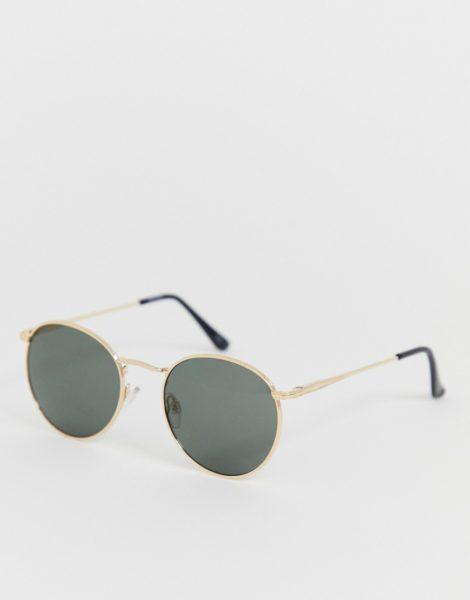 ASOS DESIGN - Runde Sonnenbrille in Gold-Metall mit getönten Gläsern