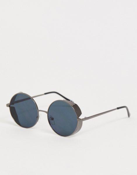 ASOS DESIGN - Runde Sonnenbrille in Stahlgrau mit seitlichen Kappen