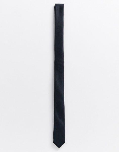 ASOS DESIGN - Schmale Krawatte aus Satin in Schwarz