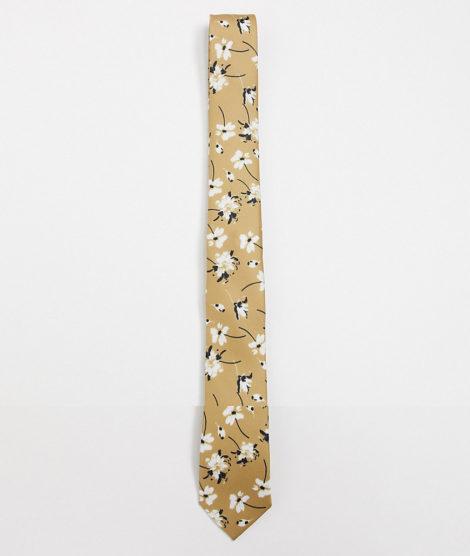 ASOS DESIGN - Schmale Krawatte und Einstecktuch in Stone mit Blümchenmuster-Beige