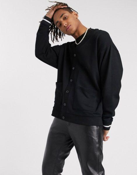 ASOS DESIGN - Schwarze Oversize-Strickjacke aus Jersey mit gestreifter Rippstruktur