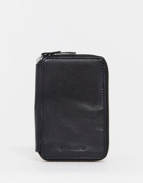 ASOS DESIGN - Schwarze Reisebrieftasche aus Leder mit Passetui