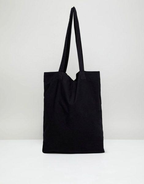 ASOS DESIGN - Schwarze Tragetasche aus Bio-Baumwolle