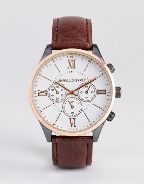 ASOS DESIGN - Uhr aus verschiedenen Metallen mit braunem Armband in Kroko-Optik
