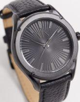 Armani Exchange - Fitz - Uhr mit Lederarmband in Schwarz, AX2805