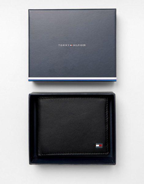 Tommy Hilfiger - Eton - Kleine Brieftasche aus schwarzem Leder