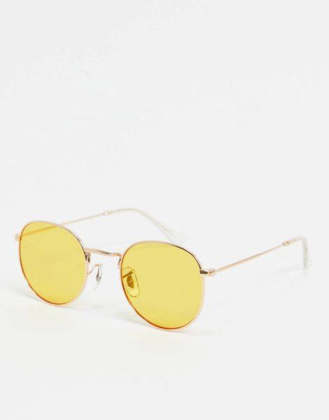 A.Kjaerbede - Runde Sonnenbrille in Gold mit gelben Gläsern
