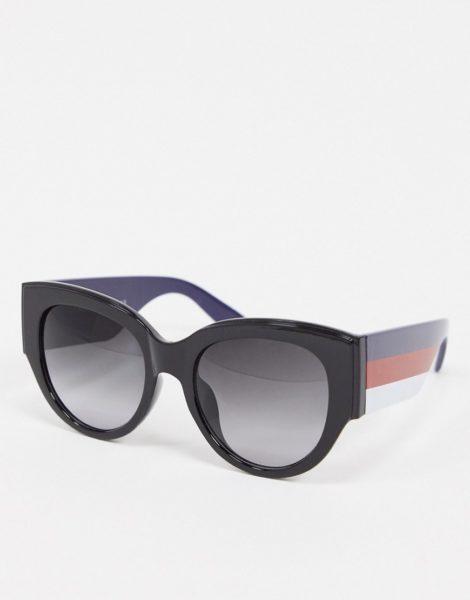 AJ Morgan - Runde Sonnenbrille mit Streifendetail in Schwarz