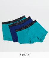 ASOS DESIGN - 3er-Packung Unterhosen mit Logobund - Jetzt sparen!-Blau