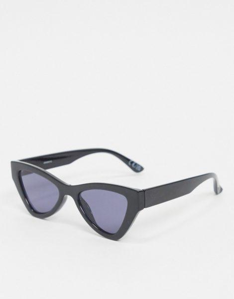 ASOS DESIGN - Angeschrägte Cat-Eye-Sonnenbrille in Schwarz
