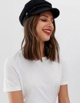 ASOS DESIGN - Baker-Boy-Mütze aus Wolle mit hoher Krone-Schwarz