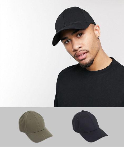 ASOS DESIGN - Baseballkappe in Schwarz und Khaki, 2er-Pack, SPECIAL OFFER-Mehrfarbig