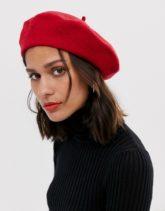 ASOS DESIGN - Baskenmütze aus Wolle-Rot