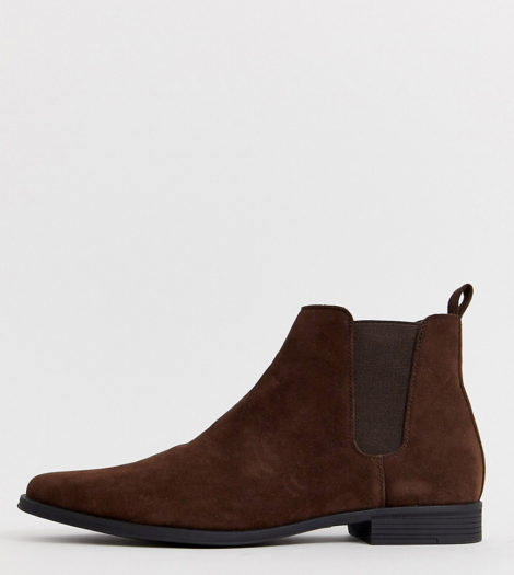 ASOS DESIGN - Chelsea-Stiefel aus braunem Kunstleder mit Bahnendesign, weite Passform