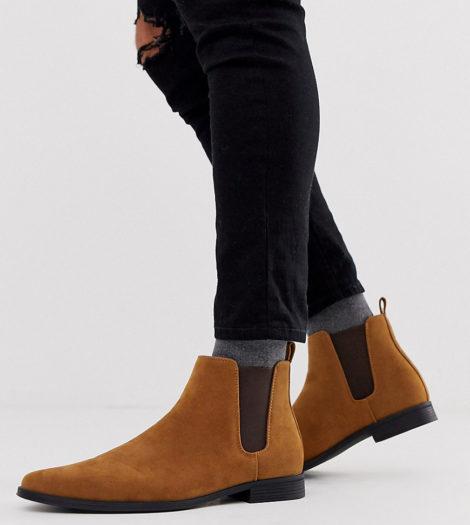 ASOS DESIGN - Chelsea-Stiefel aus braunem Wildlederimitat, weite Passform-Bronze