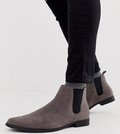 ASOS DESIGN - Chelsea-Stiefel aus grauem Wildlederimitat, weite Passform