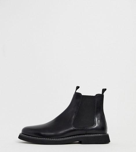 ASOS DESIGN - Chelsea-Stiefel aus schwarzem Leder mit dicker Sohle, weite Passform