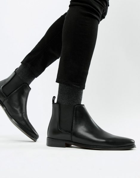 ASOS DESIGN - Chelsea-Stiefel aus schwarzem Leder mit schwarzer Sohle