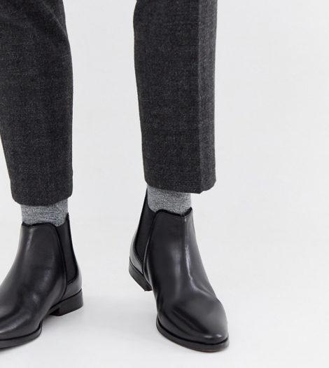 ASOS DESIGN - Chelsea-Stiefel aus schwarzem Leder mit schwarzer Sohle, weite Passform