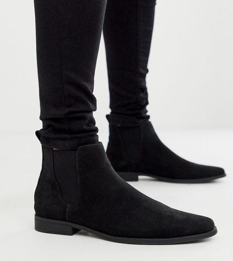 ASOS DESIGN - Chelsea-Stiefel aus schwarzem Wildlederimitat, weite Passform
