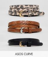 ASOS DESIGN Curve - 3er-Pack Gürtel für Jeans mit Schlangen- & Leopardendesign-Mehrfarbig