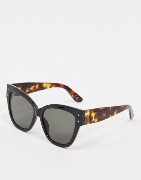 ASOS DESIGN - Dicke Cat-Eye-Sonnenbrille in Schwarz mit Bügeln in Schildpatt-Optik