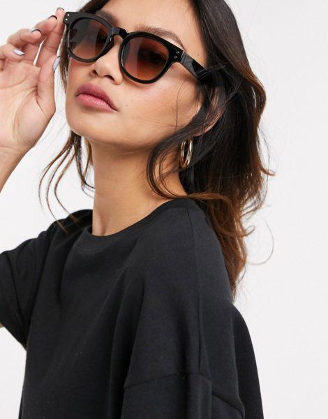 ASOS DESIGN - Dicke, runde Sonnenbrille mit braunen Gläsern-Schwarz