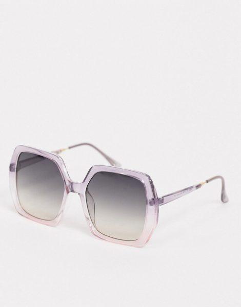 ASOS DESIGN - Eckige Oversize-Sonnenbrille im Stil der 70er, Zartviolett