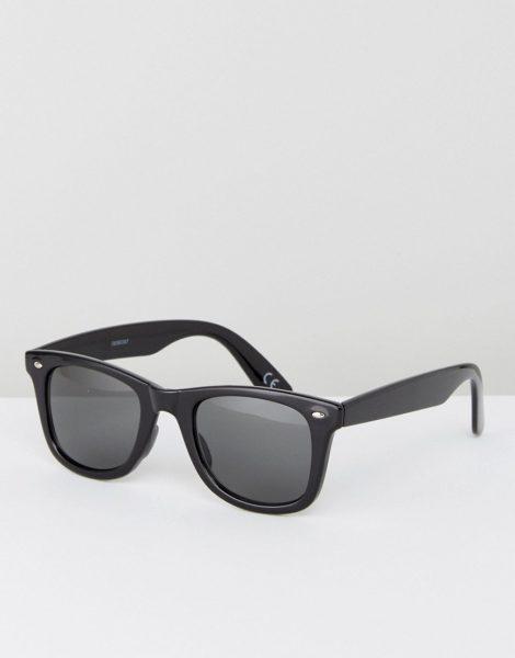 ASOS DESIGN - Eckige Sonnenbrille aus schwarzem Kunststoff mit getönten Gläsern