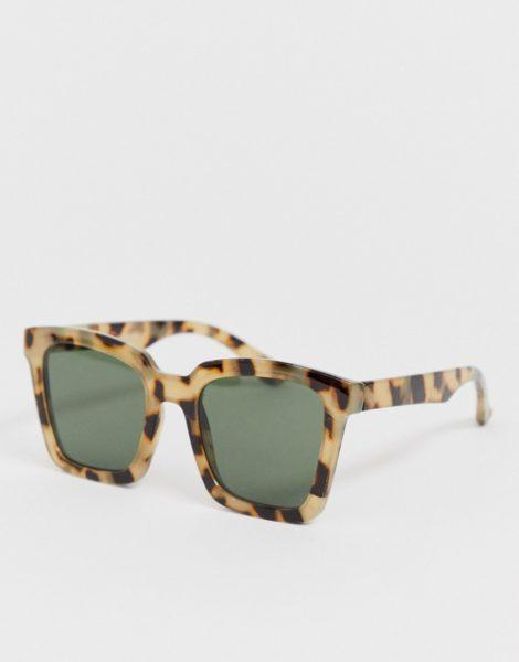 ASOS DESIGN - Eckige Sonnenbrille in milchiger Schildpattoptik-Braun