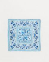 ASOS DESIGN - Einstecktuch mit blauem Paisley-Muster