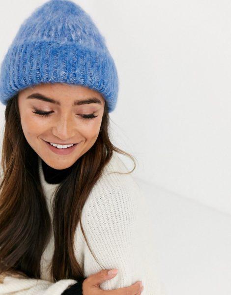 ASOS DESIGN - Flauschige, zweifarbige Mütze-Blau