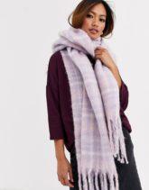 ASOS DESIGN - Flauschiger Schal in Flieder mit Karomuster-Violett