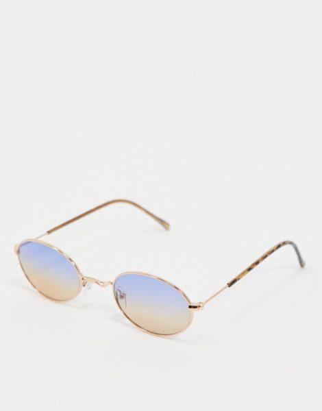 ASOS DESIGN - Goldene, ovale Metall-Sonnenbrille im Stil der 90er-Jahre mit Farbverlaufgläsern