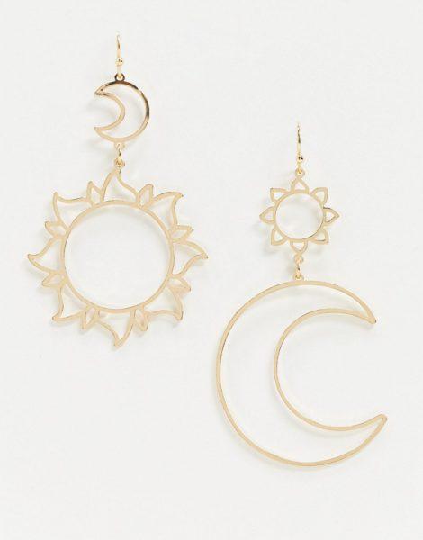 ASOS DESIGN - Goldfarbige Ohrringe mit ausgechnittenem Mond und Sonne