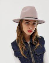ASOS DESIGN - Größenverstellbarer Fedora-Hut aus Filz mit geflochtener Borte-Beige
