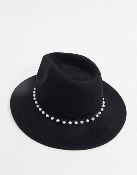 ASOS DESIGN - Größenverstellbarer Panama-Hut aus Filz mit Kunstperlenbesatz in Schwarz