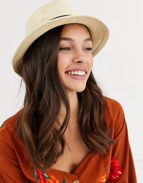 ASOS DESIGN - Größenverstellbarer Trilby-Hut aus Stroh in Braun
