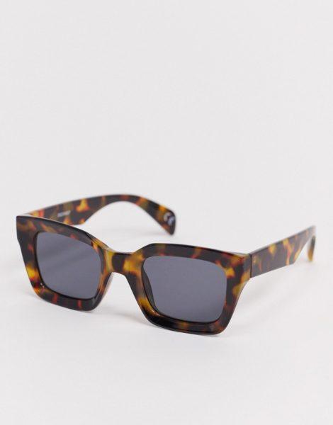 ASOS DESIGN - Große, rechteckige Sonnenbrille in brauner Schildpattoptik