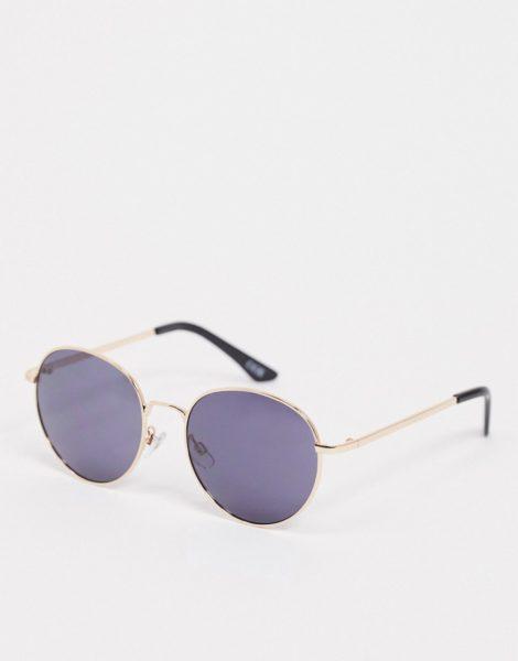 ASOS DESIGN - Große runde Metall-Sonnenbrille mit schwarzem und goldenem Rahmen