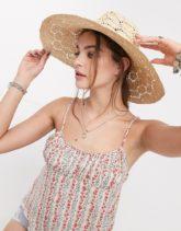 ASOS DESIGN - Grob geflochtener, größenverstellbarer Panama-Hut aus Stroh in Natur-Braun